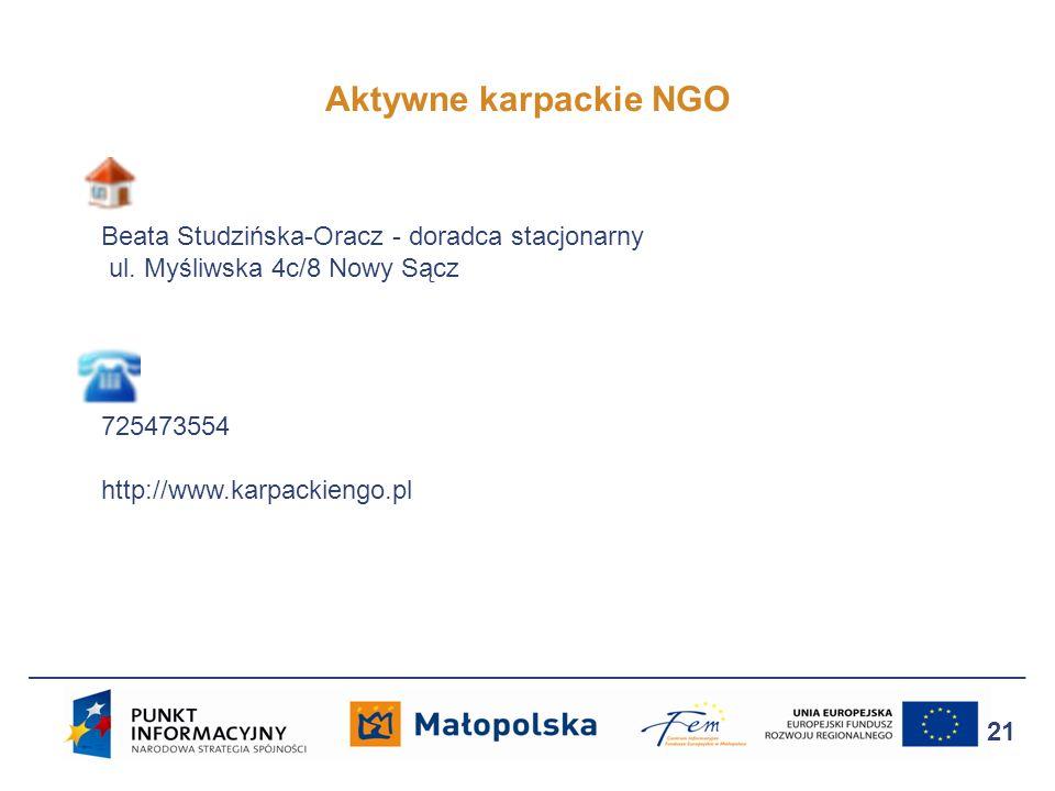 Aktywne karpackie NGO Beata Studzińska-Oracz - doradca stacjonarny