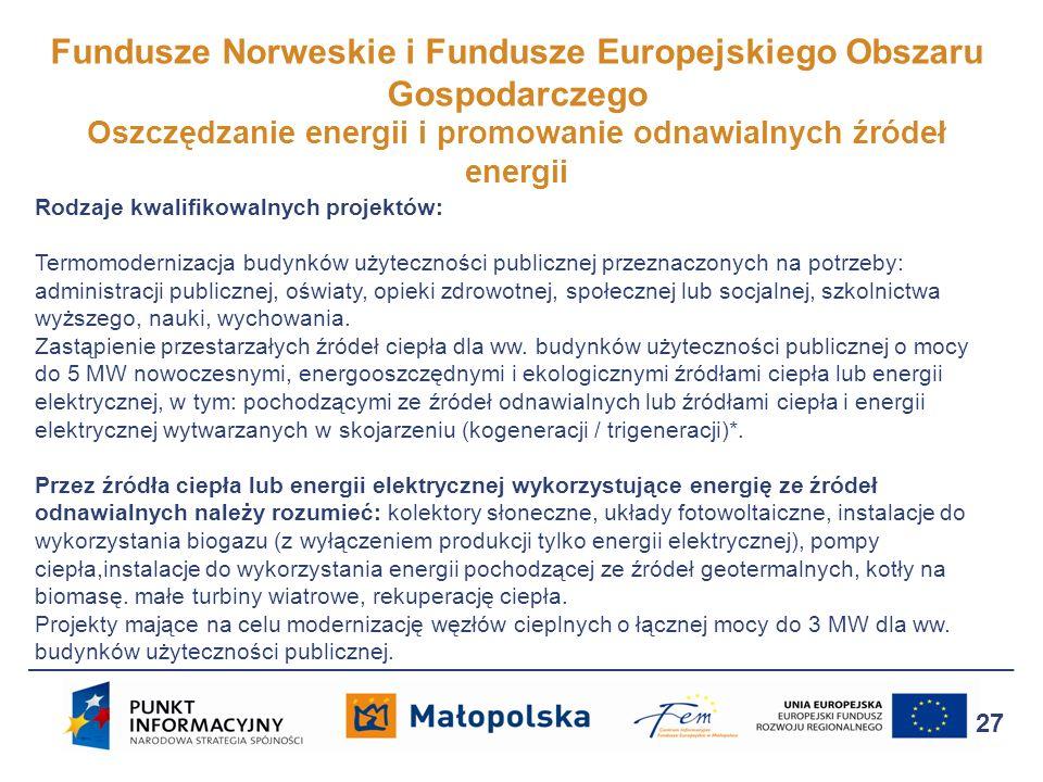 Fundusze Norweskie i Fundusze Europejskiego Obszaru Gospodarczego Oszczędzanie energii i promowanie odnawialnych źródeł energii