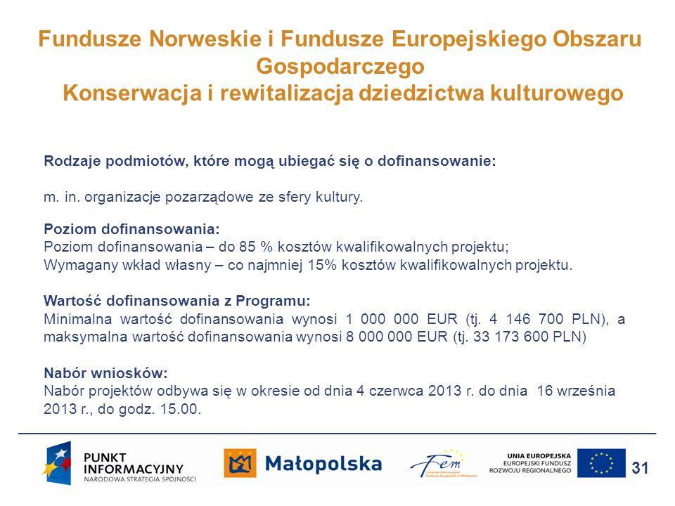 Fundusze Norweskie i Fundusze Europejskiego Obszaru Gospodarczego Konserwacja i rewitalizacja dziedzictwa kulturowego