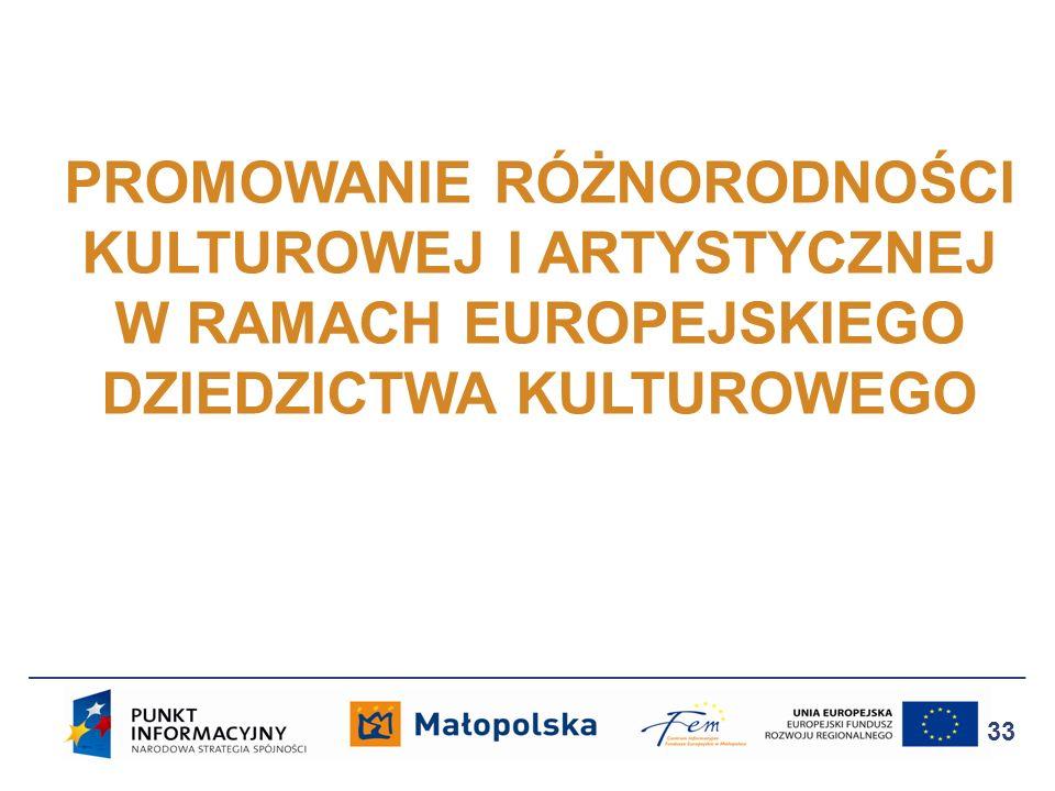 PROMOWANIE RÓŻNORODNOŚCI KULTUROWEJ I ARTYSTYCZNEJ W RAMACH EUROPEJSKIEGO DZIEDZICTWA KULTUROWEGO