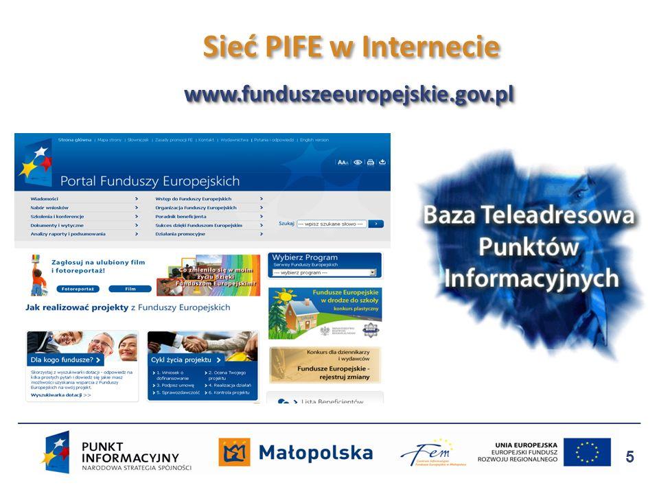 Sieć PIFE w Internecie www.funduszeeuropejskie.gov.pl