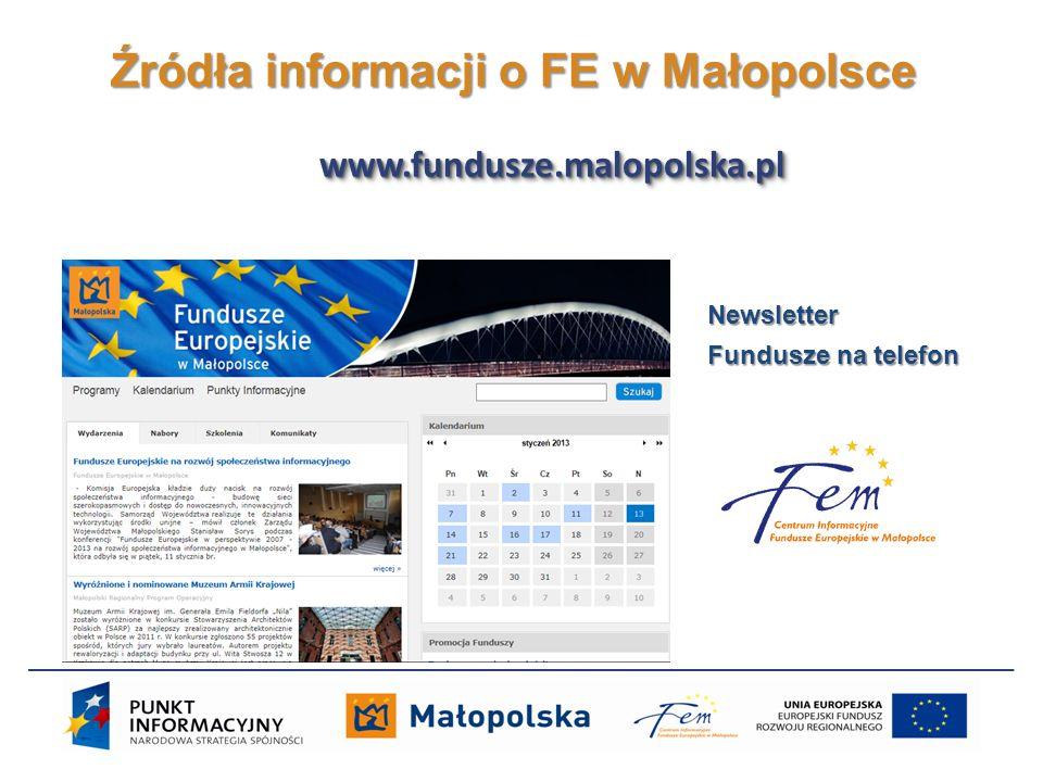 Źródła informacji o FE w Małopolsce