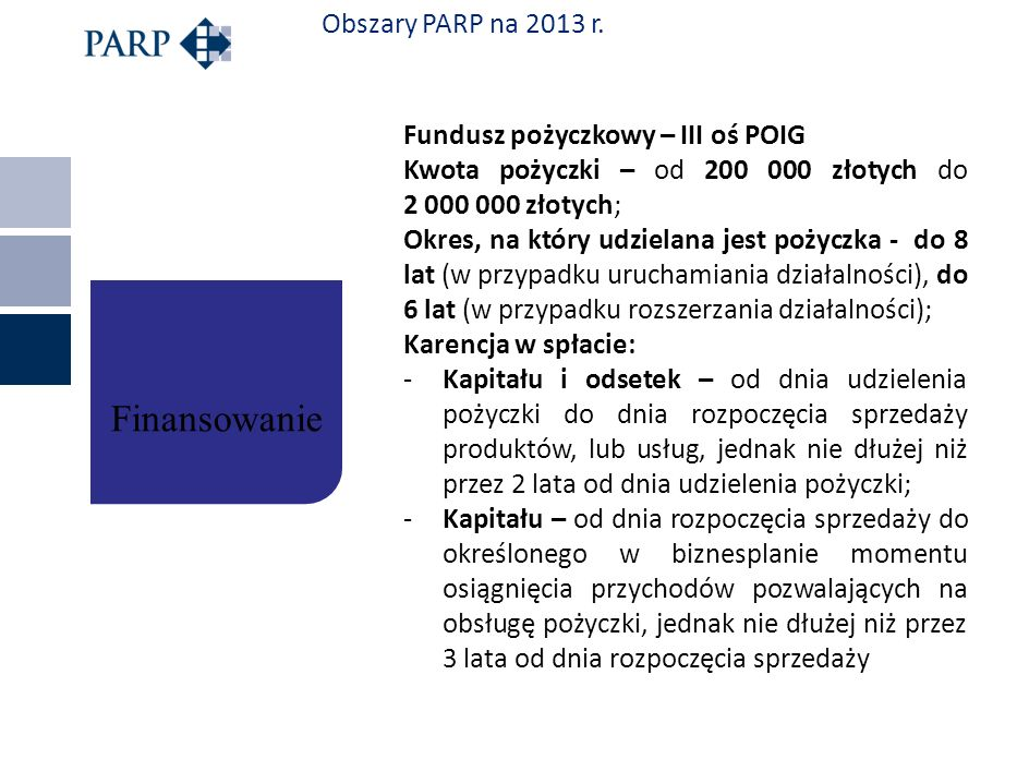 Finansowanie Obszary PARP na 2013 r. Fundusz pożyczkowy – III oś POIG