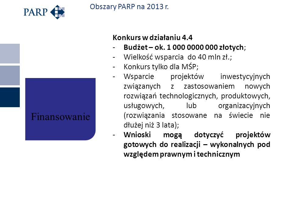 Finansowanie Obszary PARP na 2013 r. Konkurs w działaniu 4.4