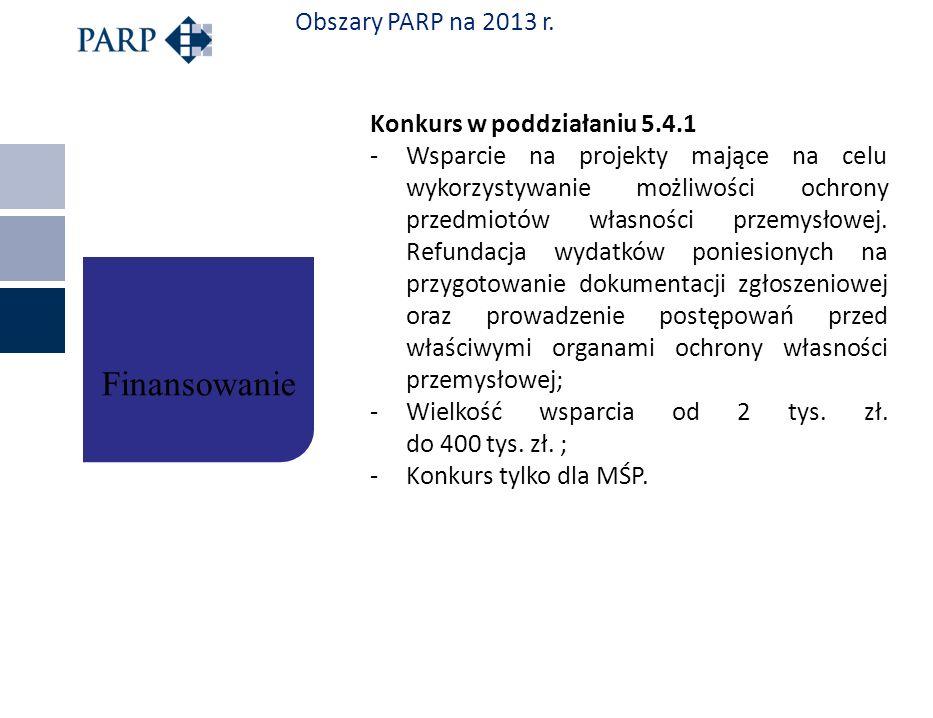 Finansowanie Obszary PARP na 2013 r. Konkurs w poddziałaniu 5.4.1