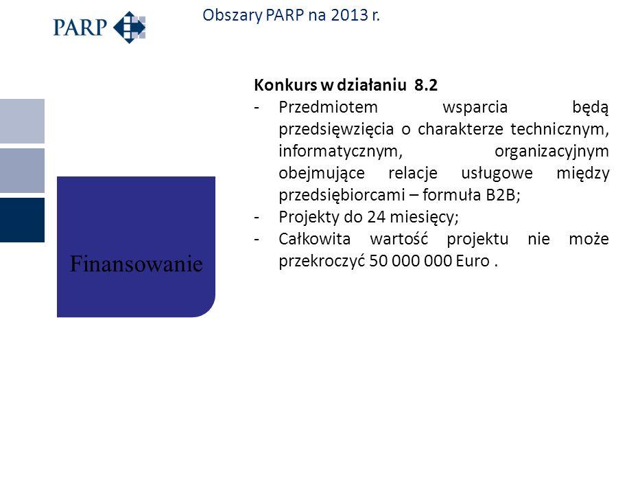 Finansowanie Obszary PARP na 2013 r. Konkurs w działaniu 8.2
