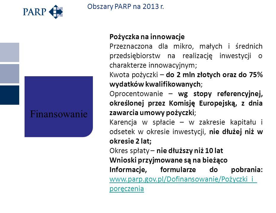 Finansowanie Obszary PARP na 2013 r. Pożyczka na innowacje