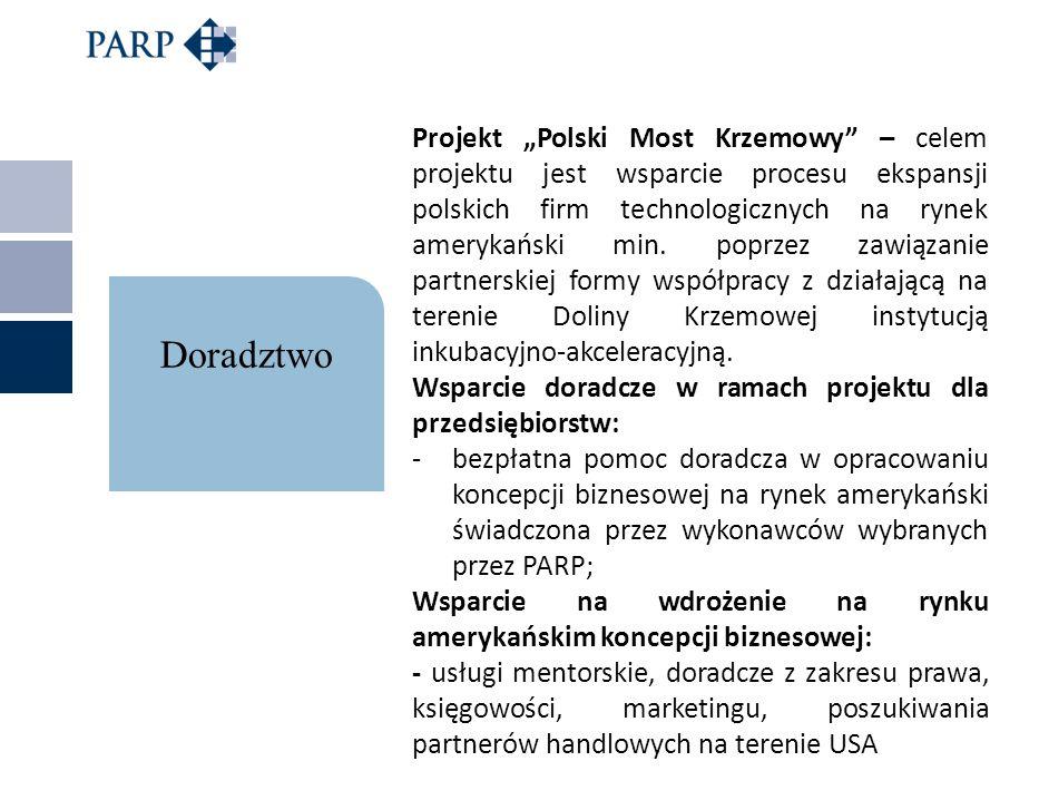 """Projekt """"Polski Most Krzemowy – celem projektu jest wsparcie procesu ekspansji polskich firm technologicznych na rynek amerykański min. poprzez zawiązanie partnerskiej formy współpracy z działającą na terenie Doliny Krzemowej instytucją inkubacyjno-akceleracyjną."""