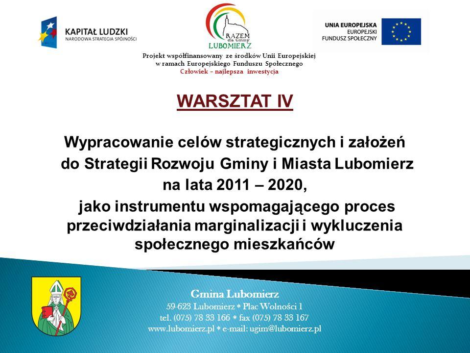 WARSZTAT IV Wypracowanie celów strategicznych i założeń