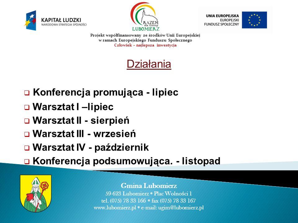 Działania Konferencja promująca - lipiec Warsztat I –lipiec