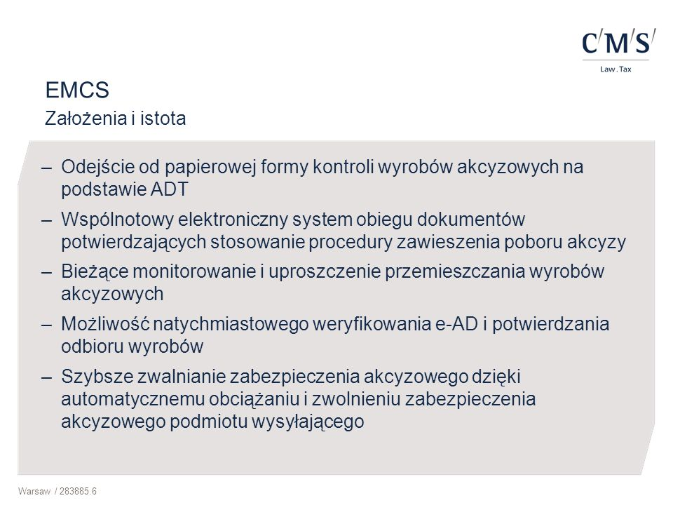EMCS Założenia i istota
