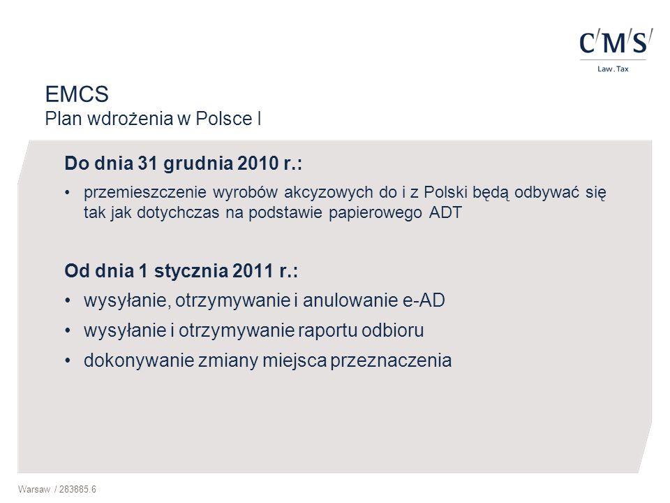 EMCS Plan wdrożenia w Polsce I