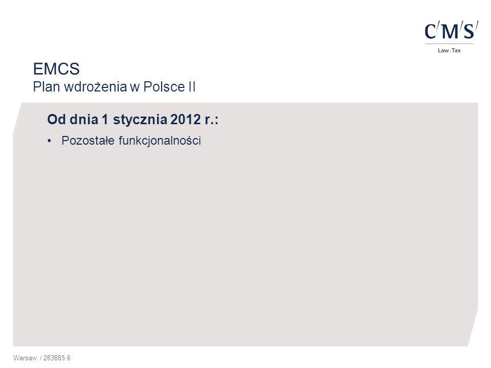 EMCS Plan wdrożenia w Polsce II