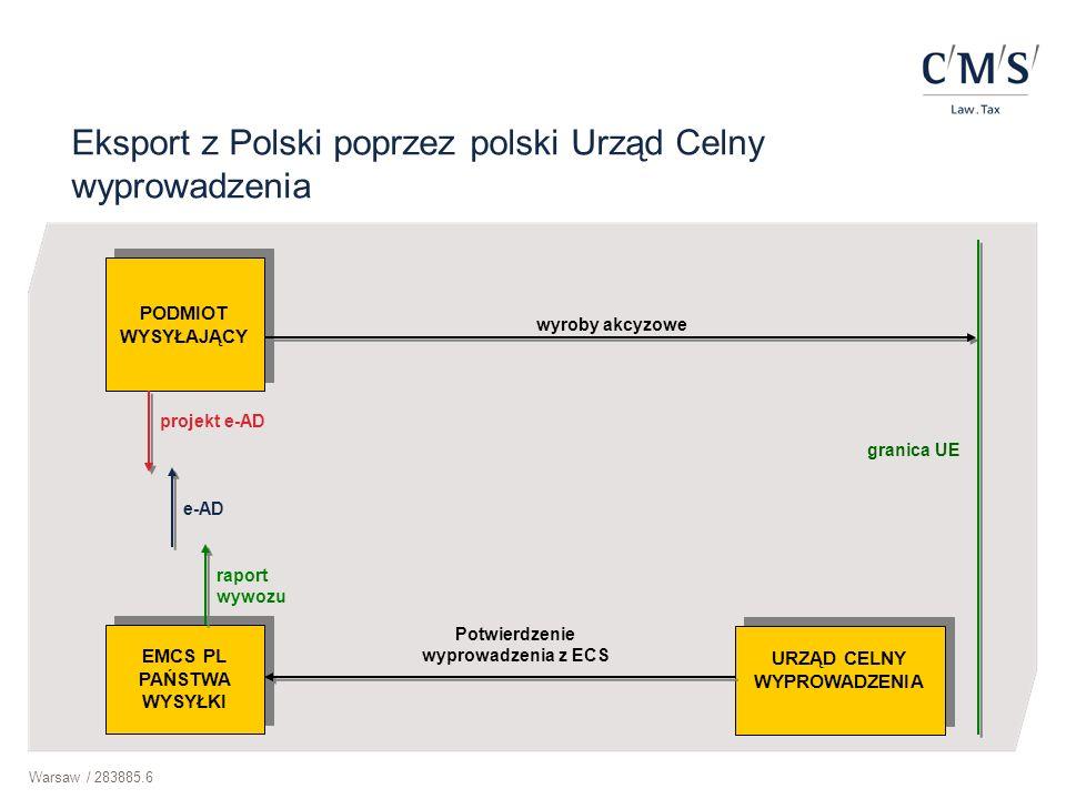 Eksport z Polski poprzez polski Urząd Celny wyprowadzenia