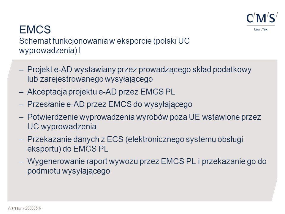 EMCS Schemat funkcjonowania w eksporcie (polski UC wyprowadzenia) I