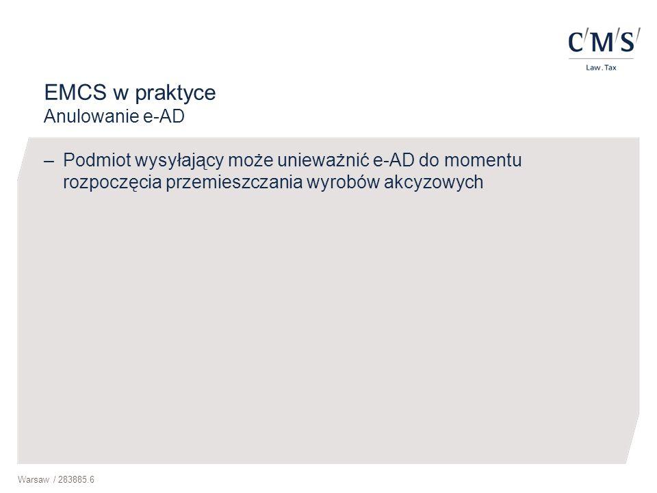 EMCS w praktyce Anulowanie e-AD