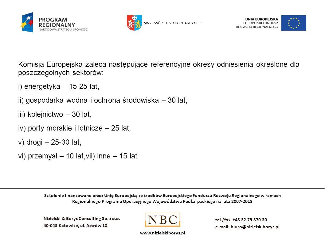 Komisja Europejska zaleca następujące referencyjne okresy odniesienia określone dla poszczególnych sektorów:
