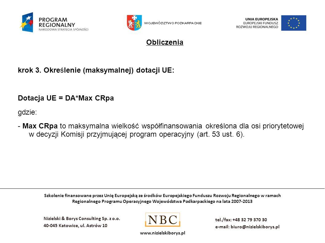 Obliczenia krok 3. Określenie (maksymalnej) dotacji UE: Dotacja UE = DA*Max CRpa. gdzie: