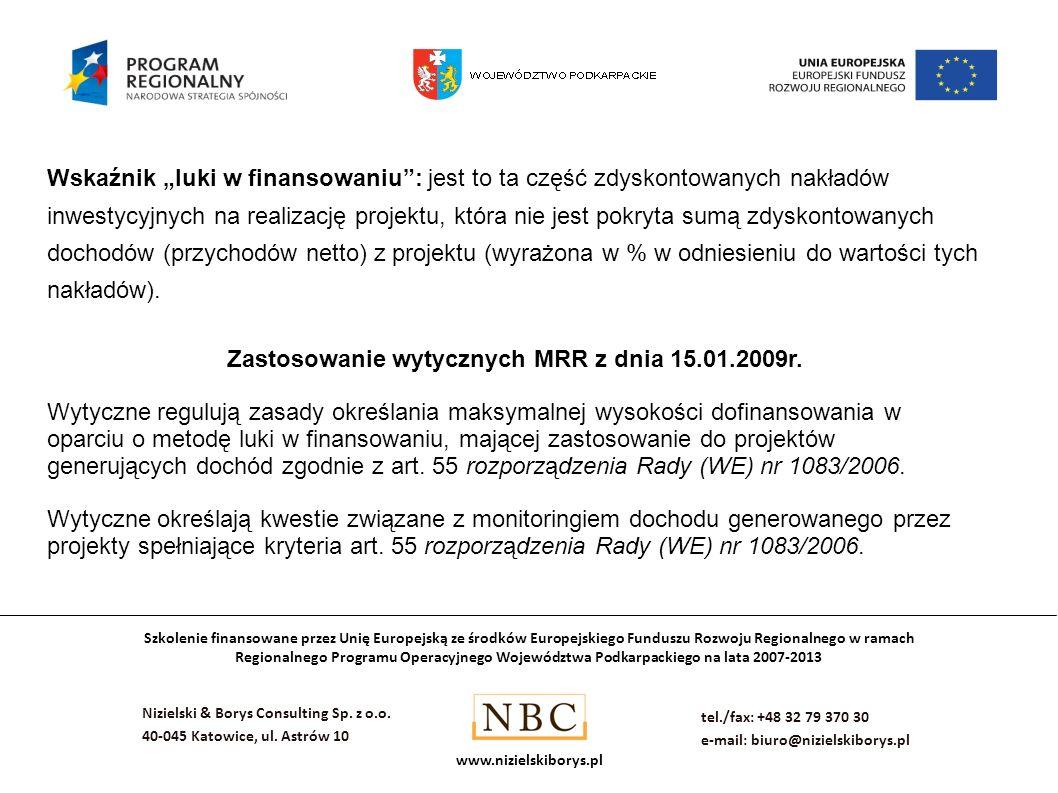 Zastosowanie wytycznych MRR z dnia 15.01.2009r.