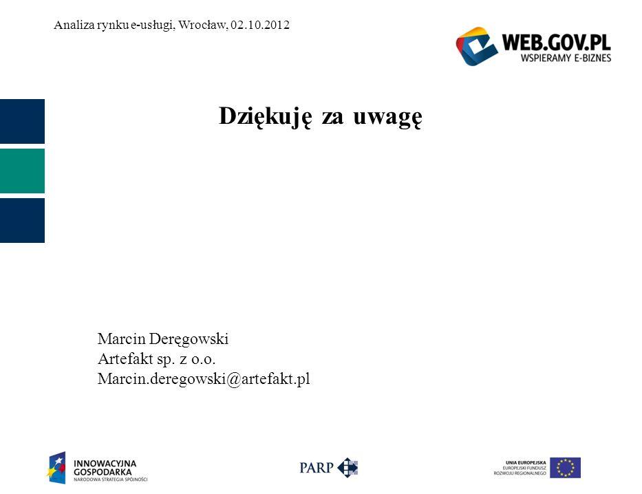 Dziękuję za uwagę Marcin Deręgowski Artefakt sp. z o.o. Marcin.deregowski@artefakt.pl