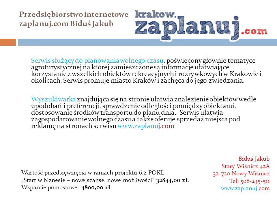 Przedsiębiorstwo internetowe zaplanuj.com Biduś Jakub