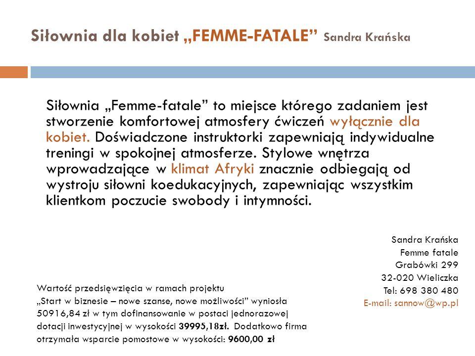 """Siłownia dla kobiet """"FEMME-FATALE Sandra Krańska"""