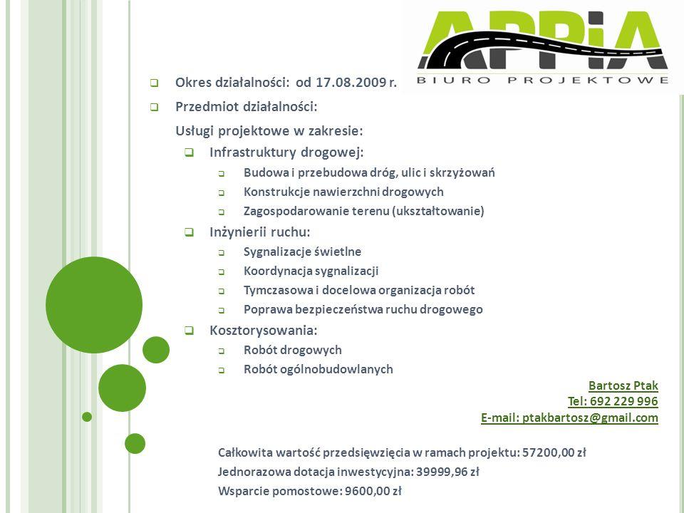 Okres działalności: od 17.08.2009 r. Przedmiot działalności:
