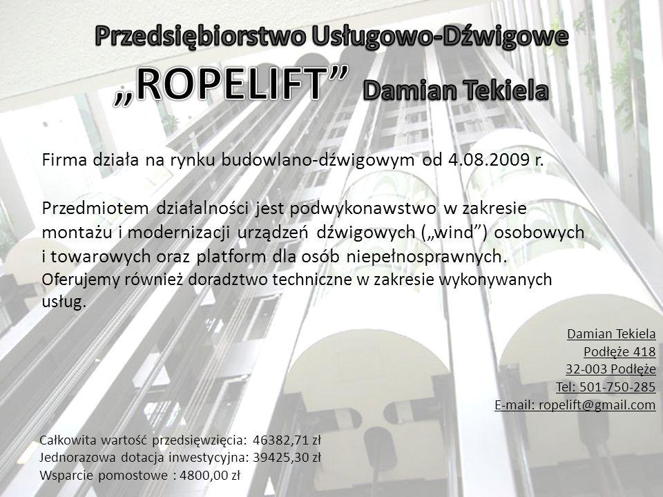"""Przedsiębiorstwo Usługowo-Dźwigowe """"ROPELIFT Damian Tekiela"""