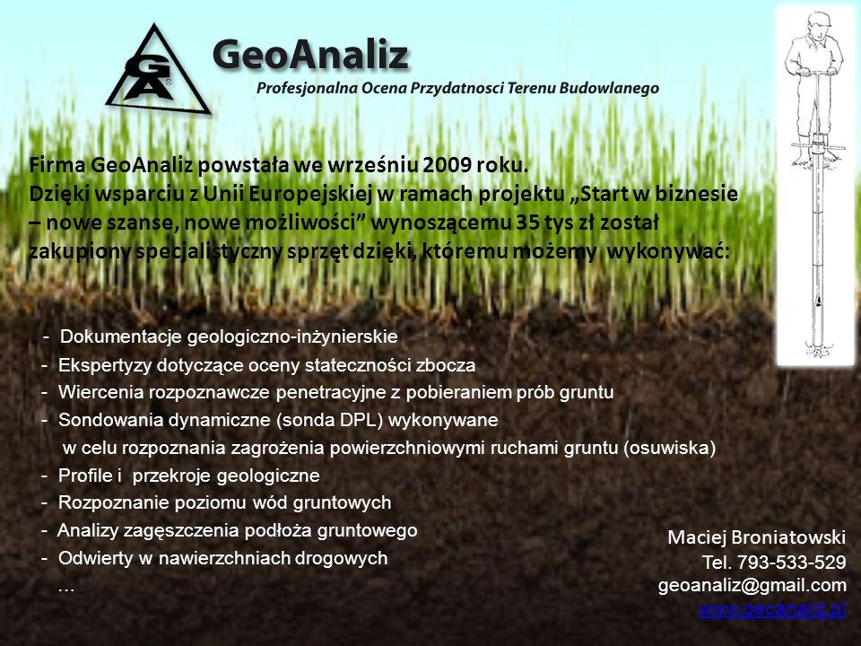 Firma GeoAnaliz powstała we wrześniu 2009 roku