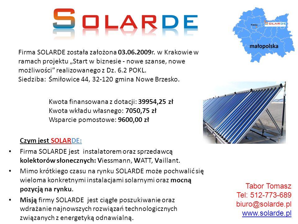 Firma SOLARDE została założona 03. 06. 2009r