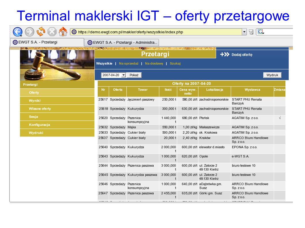 Terminal maklerski IGT – oferty przetargowe