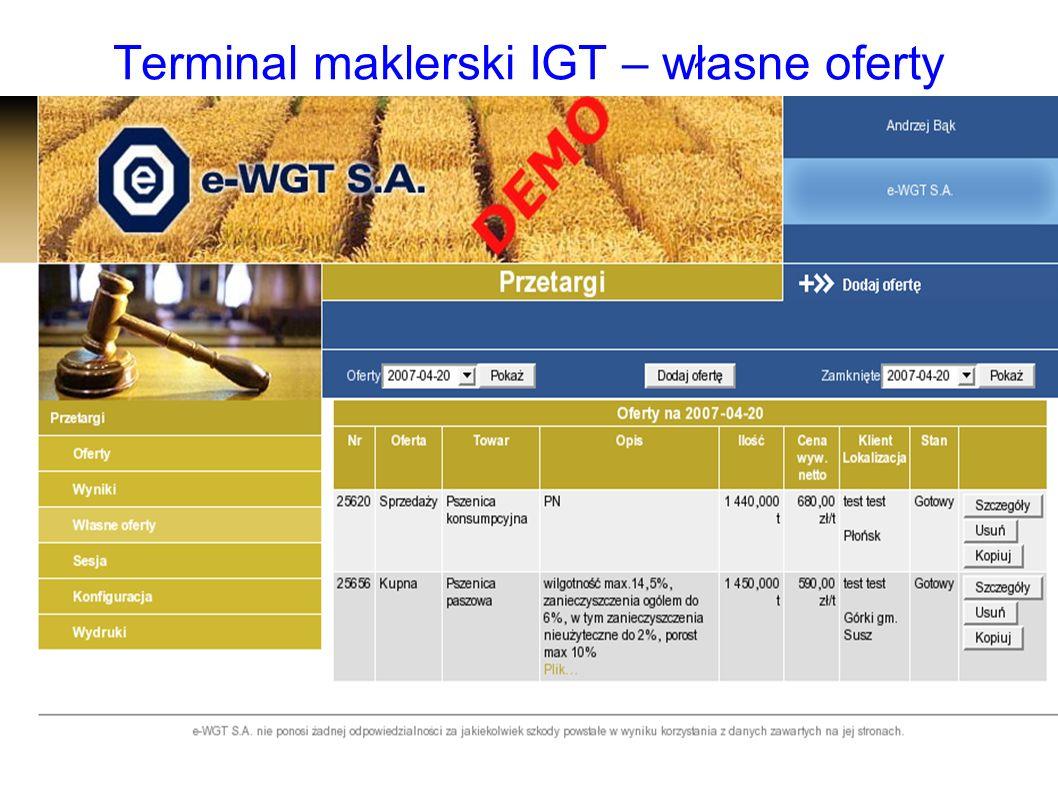 Terminal maklerski IGT – własne oferty