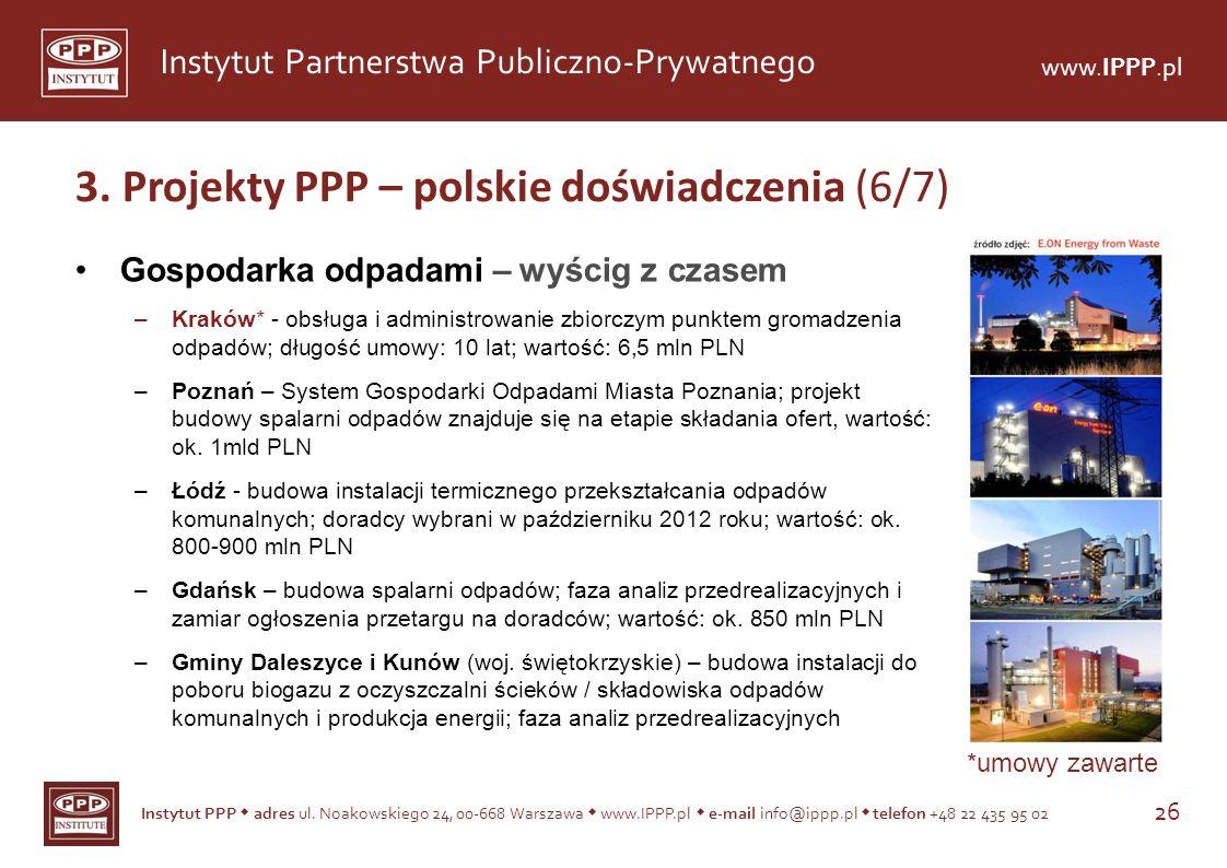 3. Projekty PPP – polskie doświadczenia (6/7)