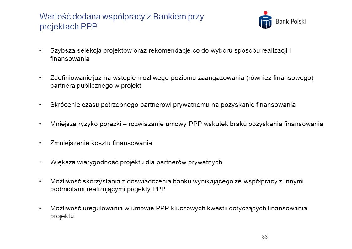 Wartość dodana współpracy z Bankiem przy projektach PPP