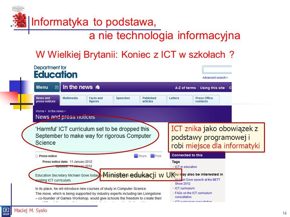 Informatyka to podstawa, a nie technologia informacyjna
