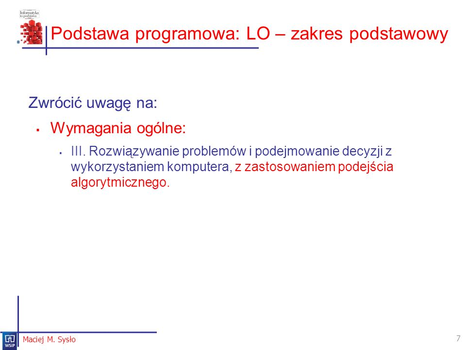 Podstawa programowa: LO – zakres podstawowy