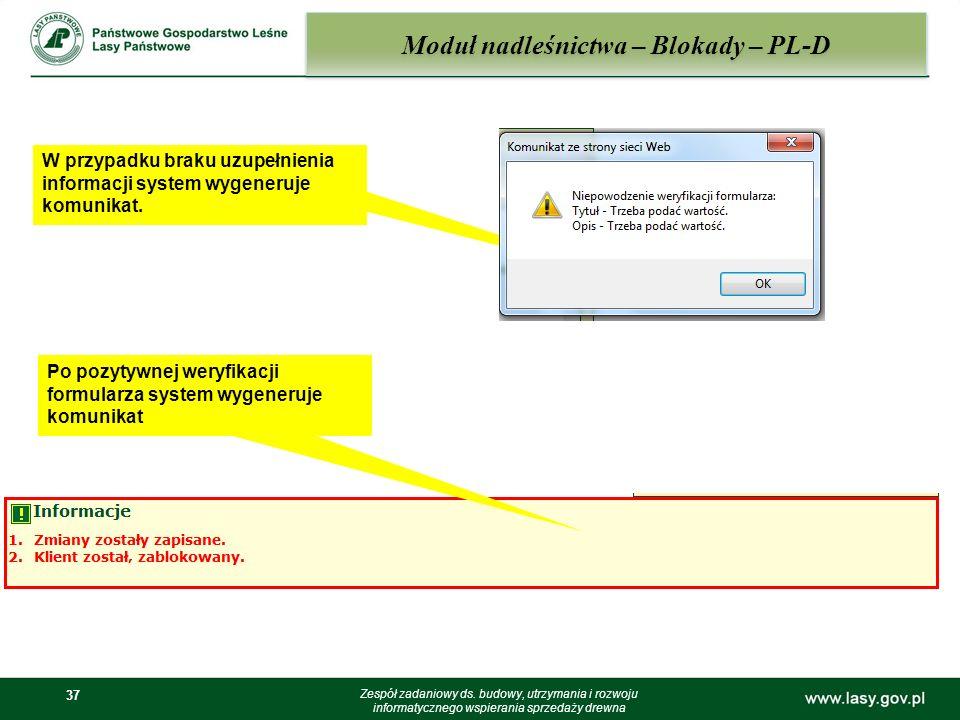 Moduł nadleśnictwa – Blokady – PL-D