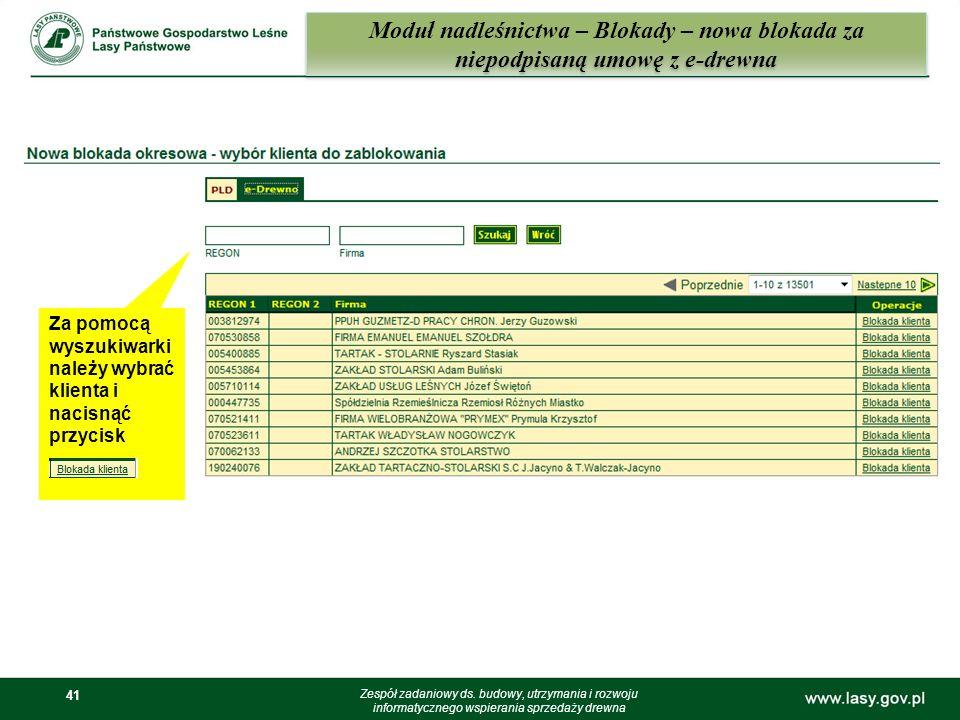 Moduł nadleśnictwa – Blokady – nowa blokada za niepodpisaną umowę z e-drewna