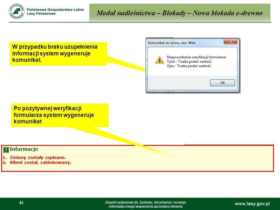 Moduł nadleśnictwa – Blokady – Nowa blokada e-drewno