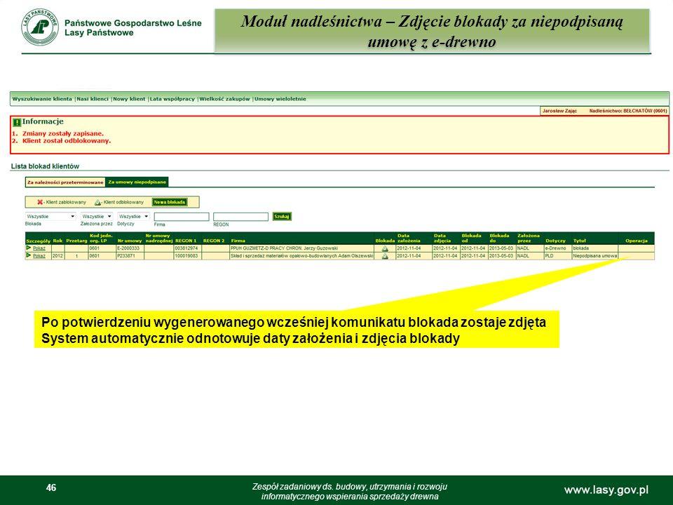 Moduł nadleśnictwa – Zdjęcie blokady za niepodpisaną umowę z e-drewno