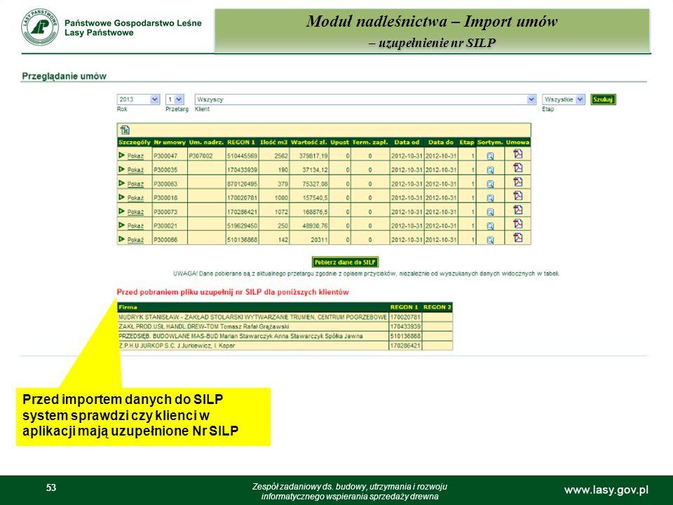Moduł nadleśnictwa – Import umów – uzupełnienie nr SILP