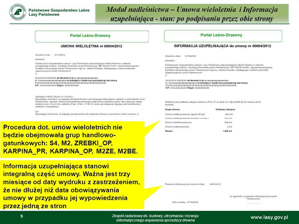Moduł nadleśnictwa – Umowa wieloletnia i Informacja uzupełniająca - stan: po podpisaniu przez obie strony