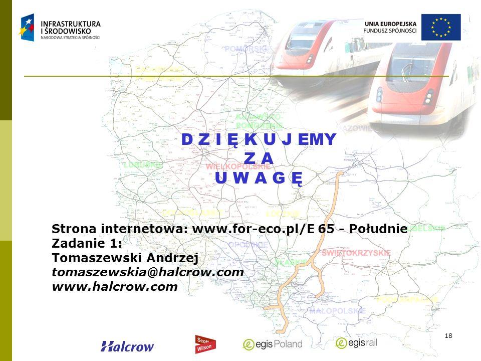 D Z I Ę K U J EMY Z A. U W A G Ę. Strona internetowa: www.for-eco.pl/E 65 - Południe. Zadanie 1: