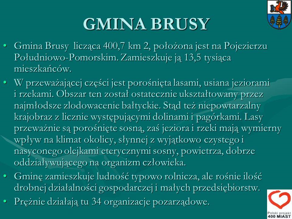 GMINA BRUSY Gmina Brusy licząca 400,7 km 2, położona jest na Pojezierzu Południowo-Pomorskim. Zamieszkuje ją 13,5 tysiąca mieszkańców.