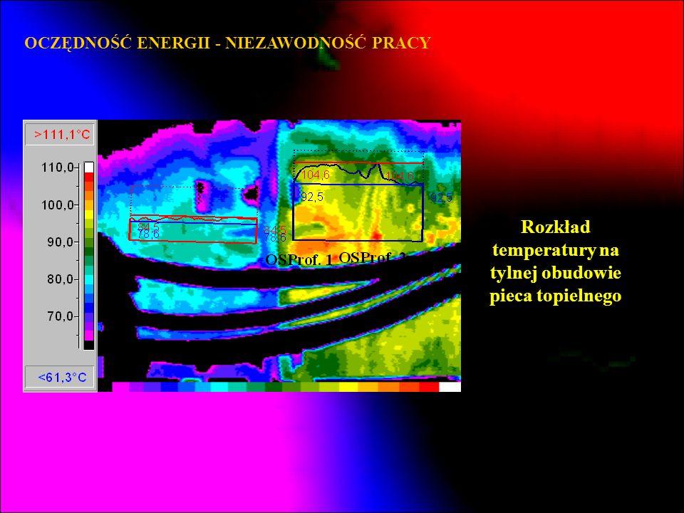 Rozkład temperatury na tylnej obudowie pieca topielnego
