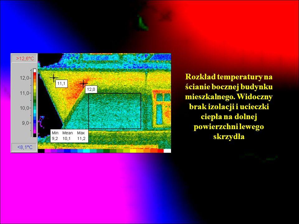 Rozkład temperatury na ścianie bocznej budynku mieszkalnego