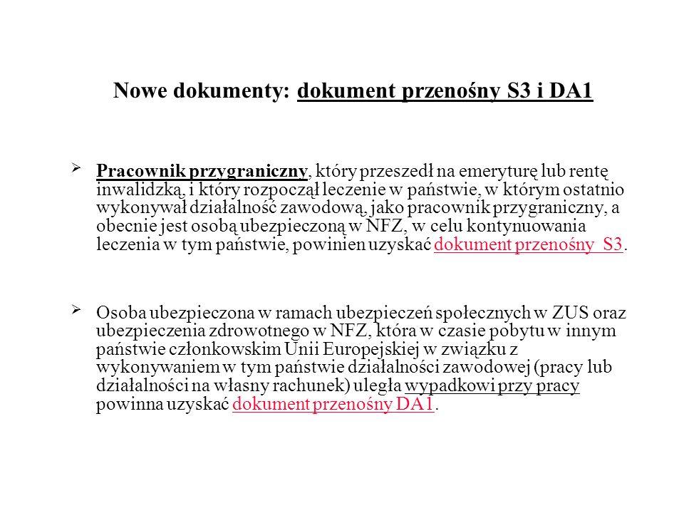 Nowe dokumenty: dokument przenośny S3 i DA1