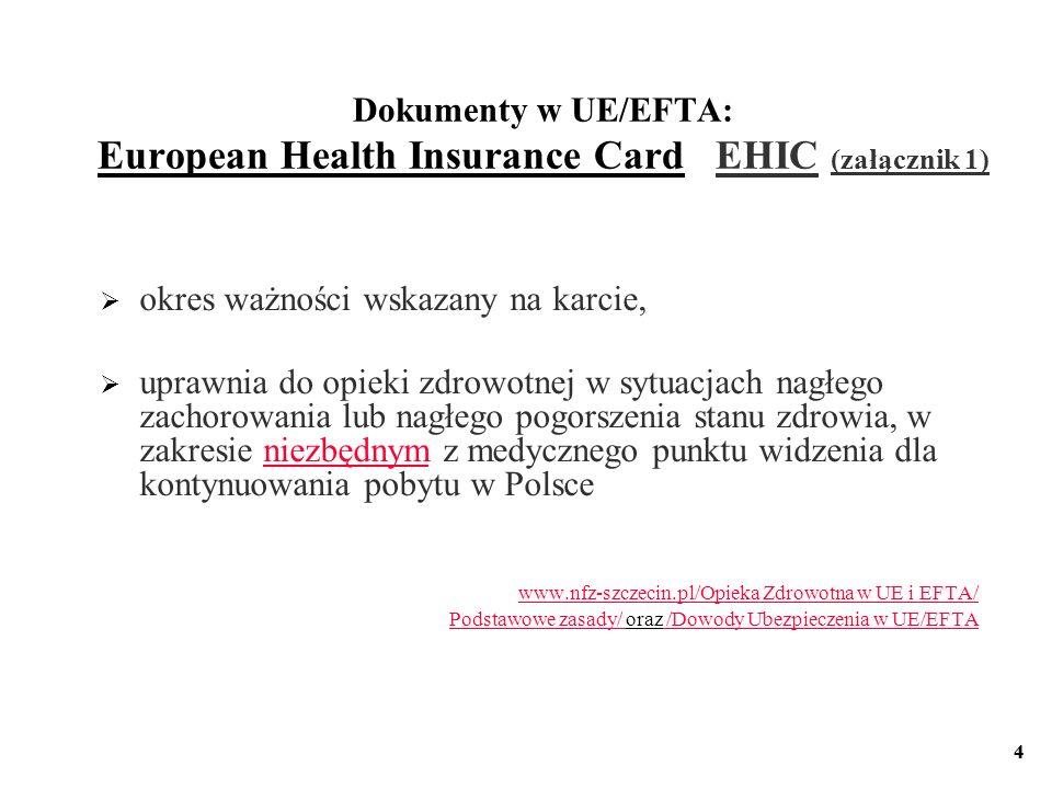 Dokumenty w UE/EFTA: European Health Insurance Card EHIC (załącznik 1)