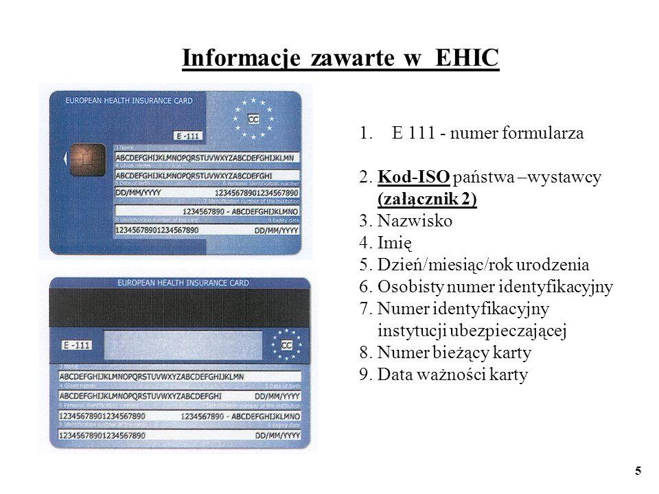 Informacje zawarte w EHIC