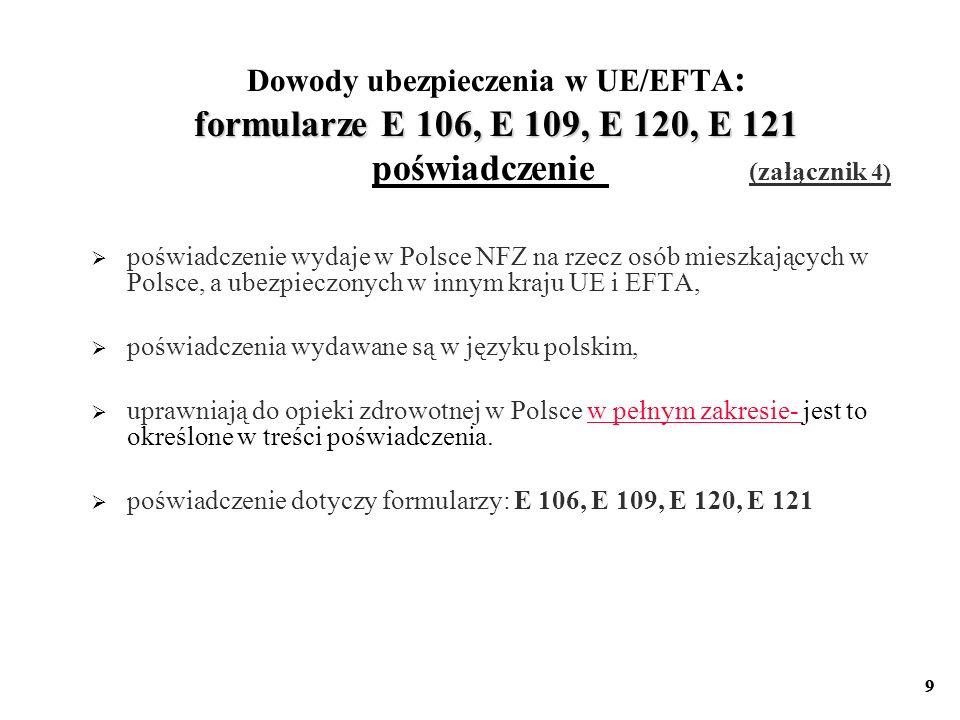 Dowody ubezpieczenia w UE/EFTA: formularze E 106, E 109, E 120, E 121 poświadczenie (załącznik 4)